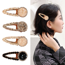 Simple girl hairpin hair clip side Korean Crystal bb word accessories headwear
