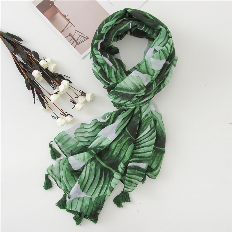 Light Weight Fashion Woman Printed Scarf Travel Sunscreen Shawl Big Size With Tassel Green Color
