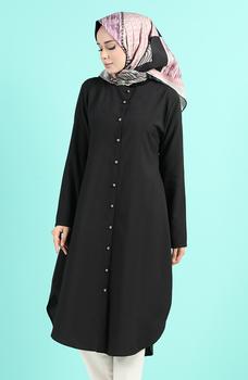Minahill czarna tunika 11005-05 tanie i dobre opinie Aplikacje Bluzki i koszule Octan Dla dorosłych