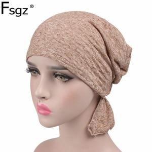 Image 1 - Женский модный тюрбан из 100% хлопка, мусульманские повязки на голову, аксессуары для повязки