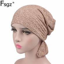 Fashion Turban For Women Quality 100% Cotton Plain Hijabs Muslim Headbands Ornaments POP Chemotherapy Cap Bandage Accessories
