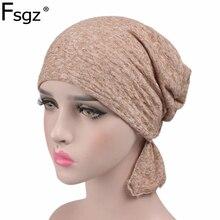 Mode Turban pour les femmes qualité 100% coton plaine Hijabs bandeaux musulmans ornements POP chimiothérapie casquette bandeau accessoires