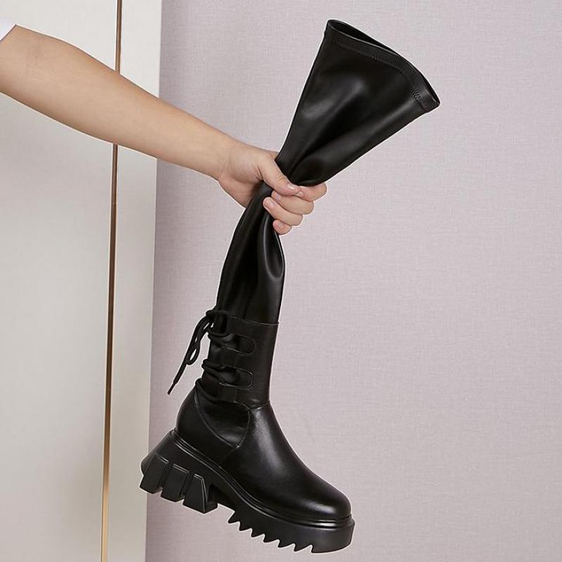 Sexy en cuir cuissardes femmes talons hauts sur les bottes au genou pour les femmes bout rond fête longues chaussures croisées   AliExpress