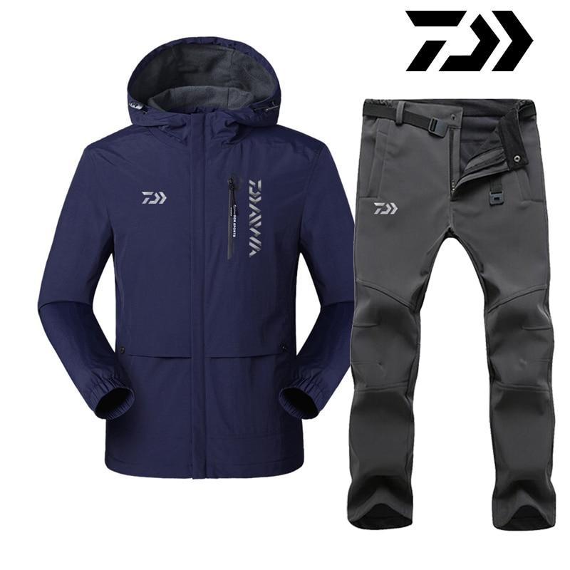 2020 Daiwa Dawa Fishing Clothing Sets Men Pants Breathable Keep Warm Winter Fishing Jackets Outdoor Sportswear Fishing Clothes