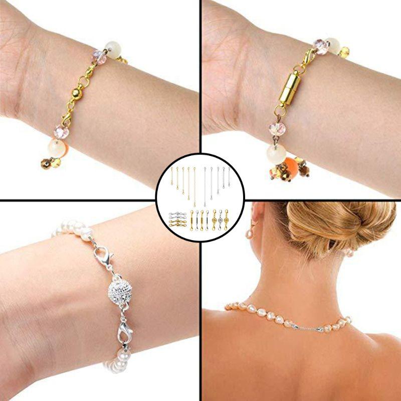 22 pièces/ensemble bijoux à bricoler soi-même accessoires cylindrique sphérique boucle magnétique collier Bracelet chaîne d'extension de cheville ensemble pour les femmes