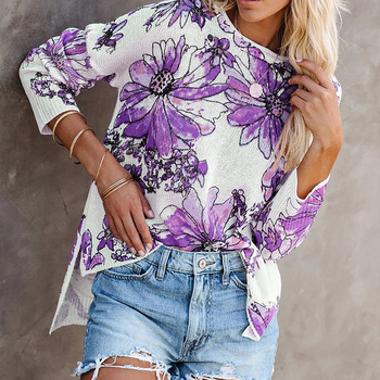 Hem Split Floral Print Women's Sweaters Knitted Autumn Long Sleeve Female Jumper Pullover Woman Plus Size Oversize Sweater 5XL pullover frayed hem knitted top