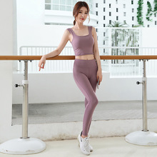 2019 New sports womens suit, fitness, quick-drying, running, sleeveless tights, fashion, body, breech pantsYoga suit