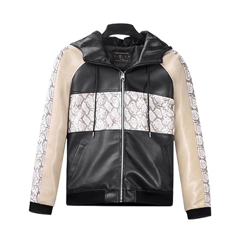 2019 Python-imprimé trois couleurs Juxtaposition lâche décontracté en cuir manteau veste à capuche zippé cache Substance Cardigan-fabricants