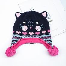 Детская зимняя трикотажная Шапка бини с помпоном в виде кота