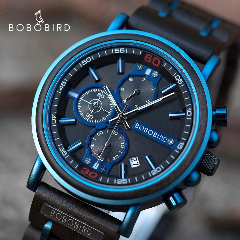reloj hombre BOBO BIRD New Wooden Watch Men Top Brand Luxury Chronograph Military Quartz Watches for Man Dropshipping Customized 1