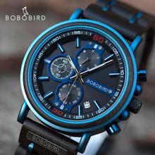 BOBO ptak nowy drewniany zegarek reloj hombre mężczyźni Top marka luksusowe Chronograph wojskowe zegarki kwarcowe dla człowieka Dropshipping dostosowane