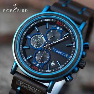 Image 1 - Reloj hombre bobo pássaro novo relógio de madeira masculino marca superior luxo cronógrafo militar relógios quartzo para o homem dropshipping personalizado