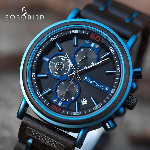Reloj hombre bobo pássaro novo relógio de madeira masculino marca superior luxo cronógrafo militar relógios quartzo para o homem dropshipping personalizado