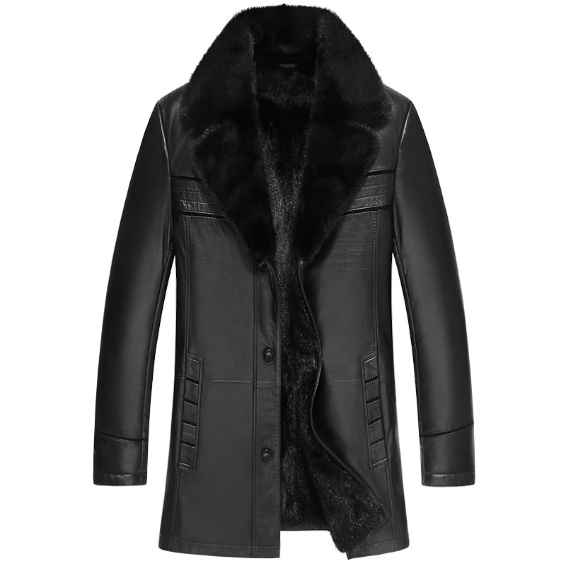 Men's Leather Jacket Genuine Sheepskin Coat Winter Jacket Men Natural Mink Fur Warm Jackets Luxury Coats Chaqueta 1747 MY1706
