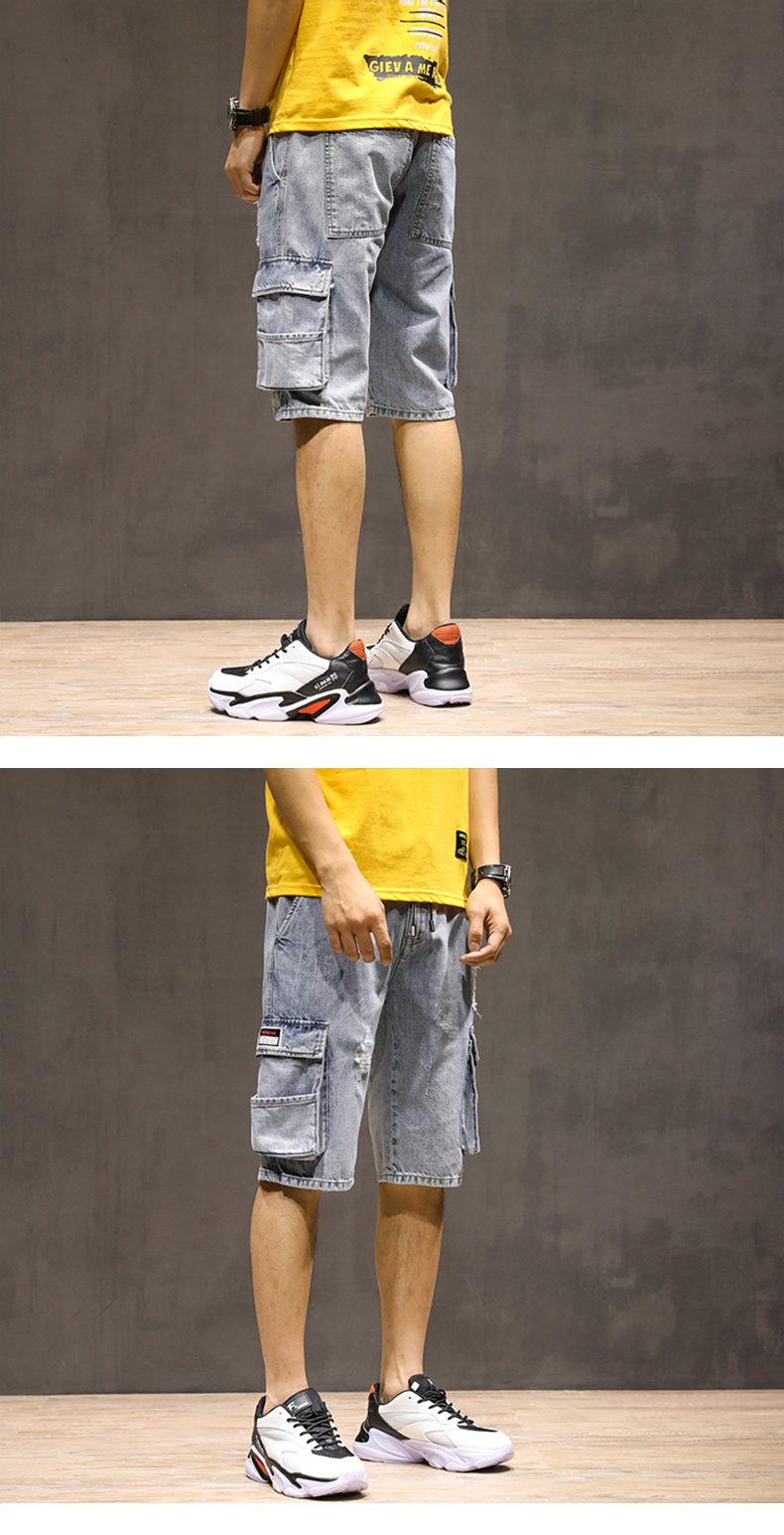 Summer Jeans Men Shorts Cargo Pants Multi-pockets Cotton Distressed Jean Streetwear Jeans Man