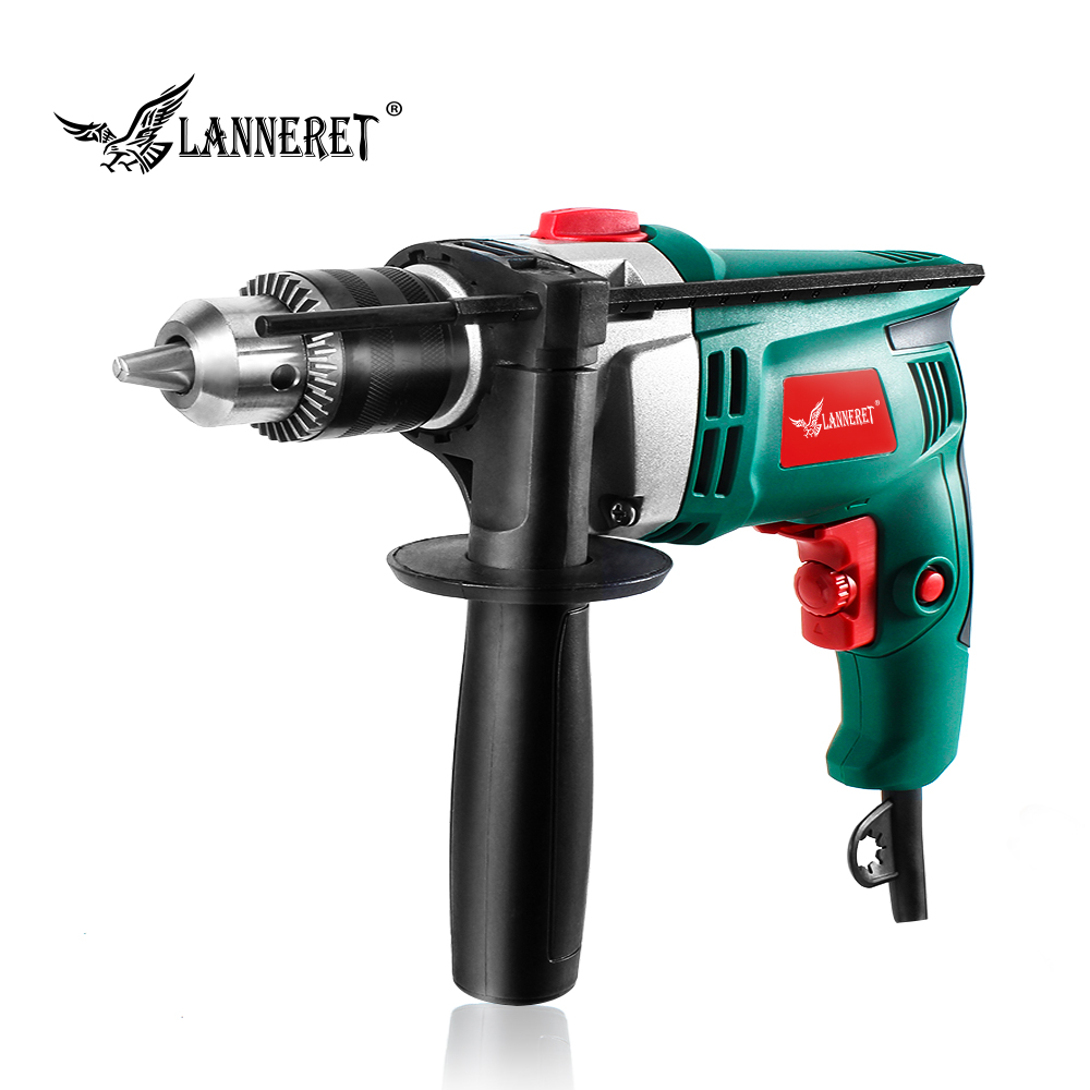 LANNERET 710W Electric Drill Hammer Drill Impact Drill Multi-function Adjustable Speed Woodworking Power Tool