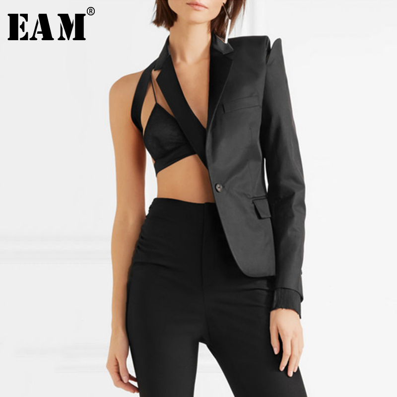 [EAM] Loose Fit Black Bandage Hollow Out One Side Jacket New Lapel Long Sleeve Women Coat Fashion Tide Spring Autumn 2020 1A4470