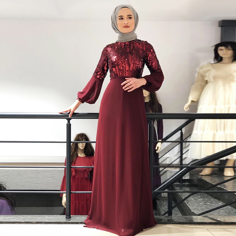 Chiffon Sequin Abaya Dubai Hijab Muslim Evening Dress Women Pakistan Kaftan Turkey Islamic Clothing Caftan Marocain Dresses Robe