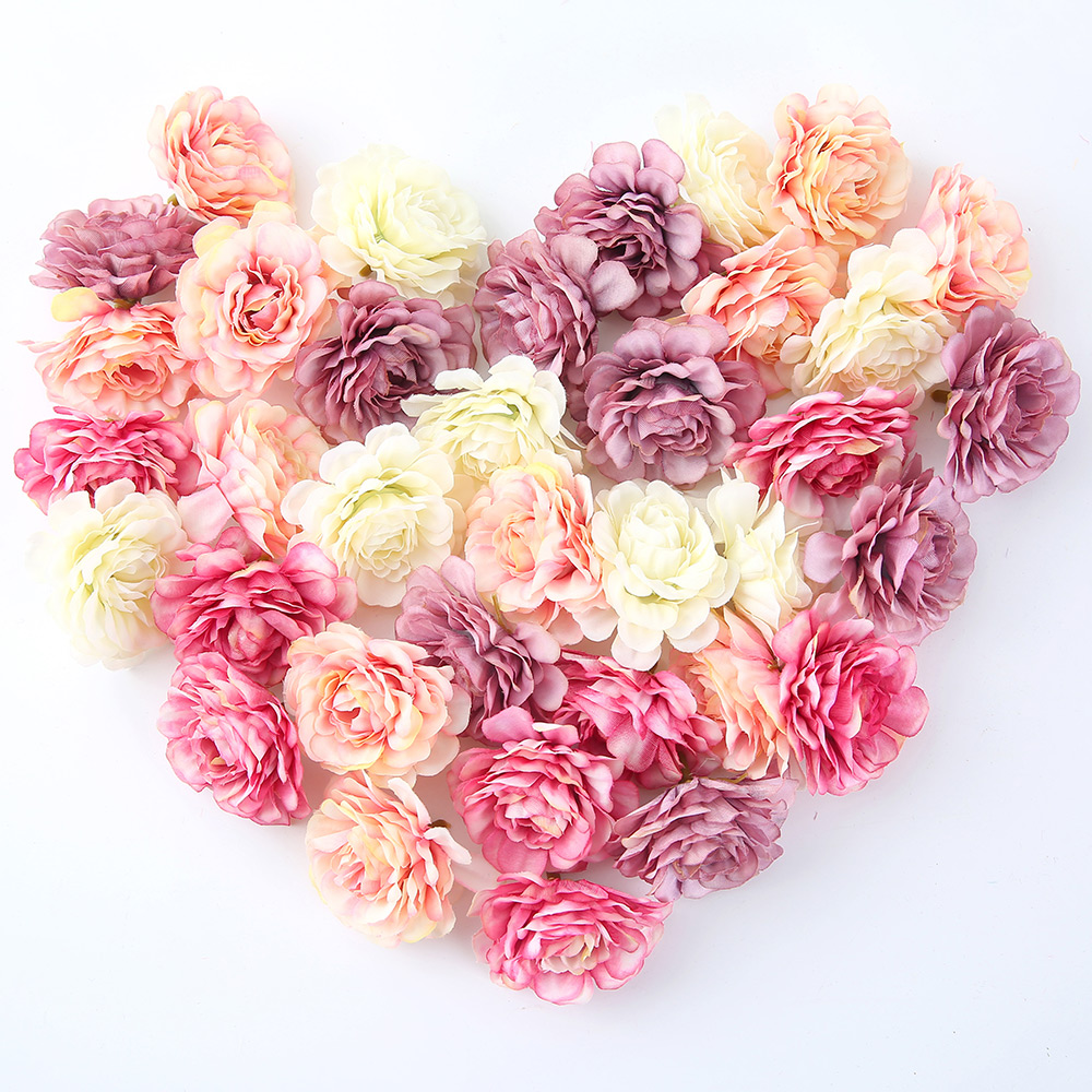 50pcs/lot Artificial Flowers 5CM Silk Rose Head For Wedding Party Home Garden DIY Decorations Craft Gift Box Wreath Scrapbooking