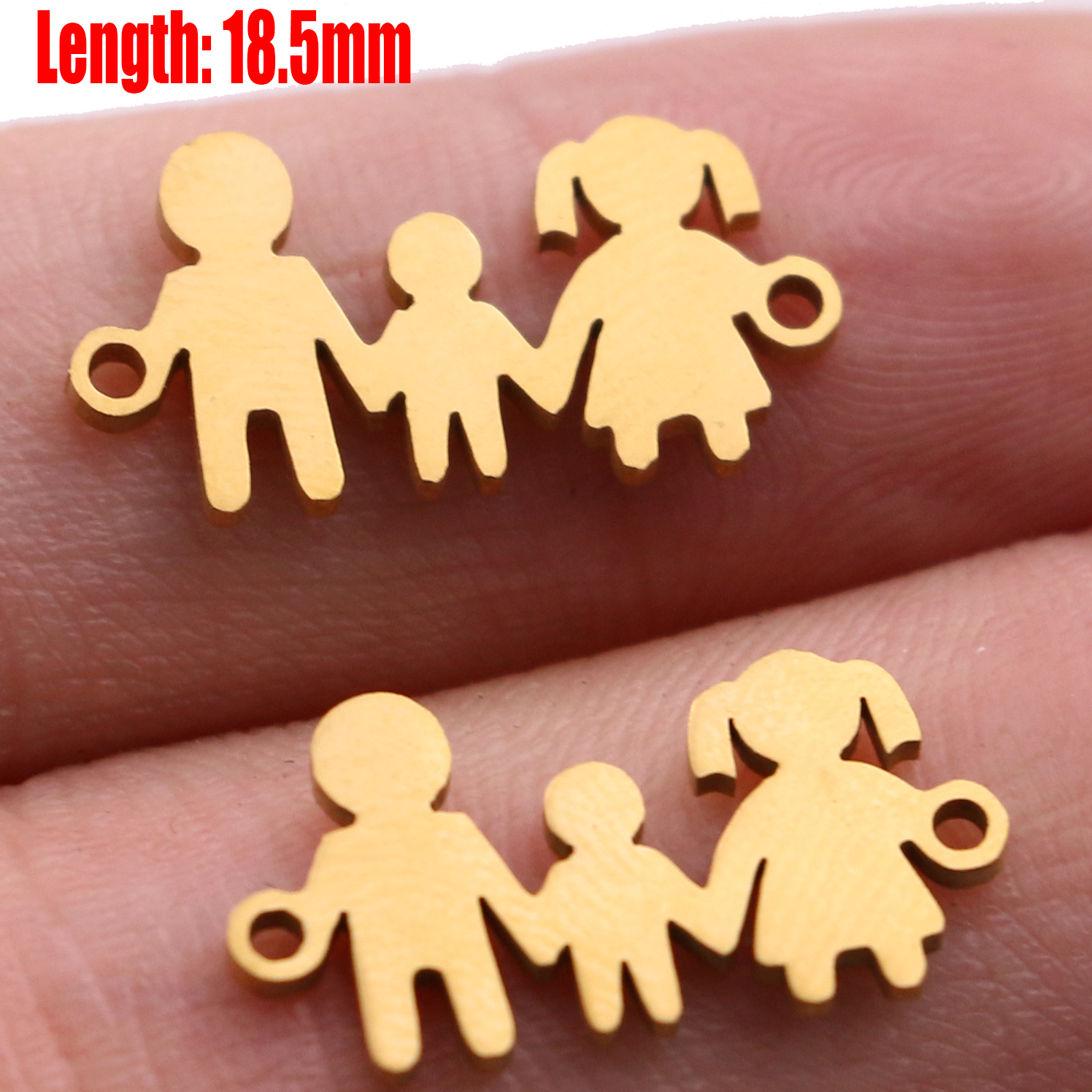 5pcs Family Chain Stainless Steel Pendant Necklace Parents and Children Necklaces Gold/steel Jewelry Gift for Mom Dad New Twice - Цвет: Gold 33