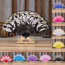 Chinese/Spanish Style Dance Wedding Party Lace Silk Folding Hand Held Flower Fan(China)