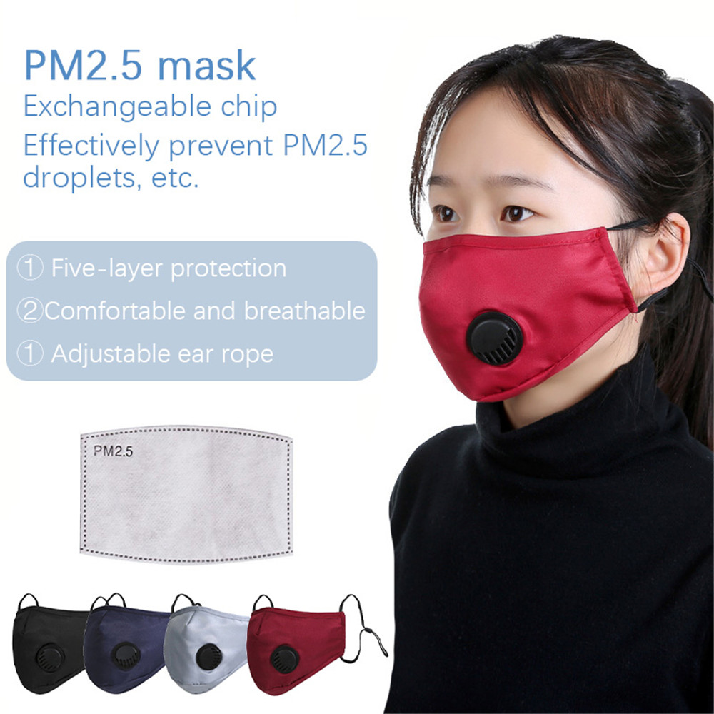 1-50pcs PM2.5 Reusable Washable Face Mask Mouth  Dust Pollution Cotton Activated Carbon Filter Valve