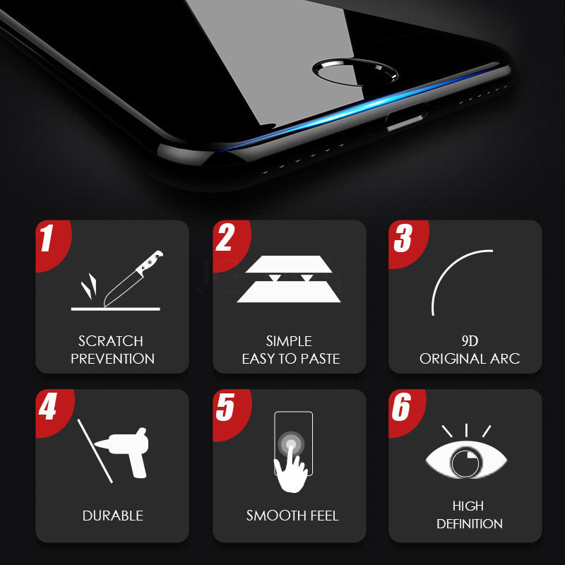 9D Curved Edge Protective Glass on the For iPhone 7 8 6 6S Plus X XR XS Max Tempered Screen Protector For iPhone 11 Pro Max Glas