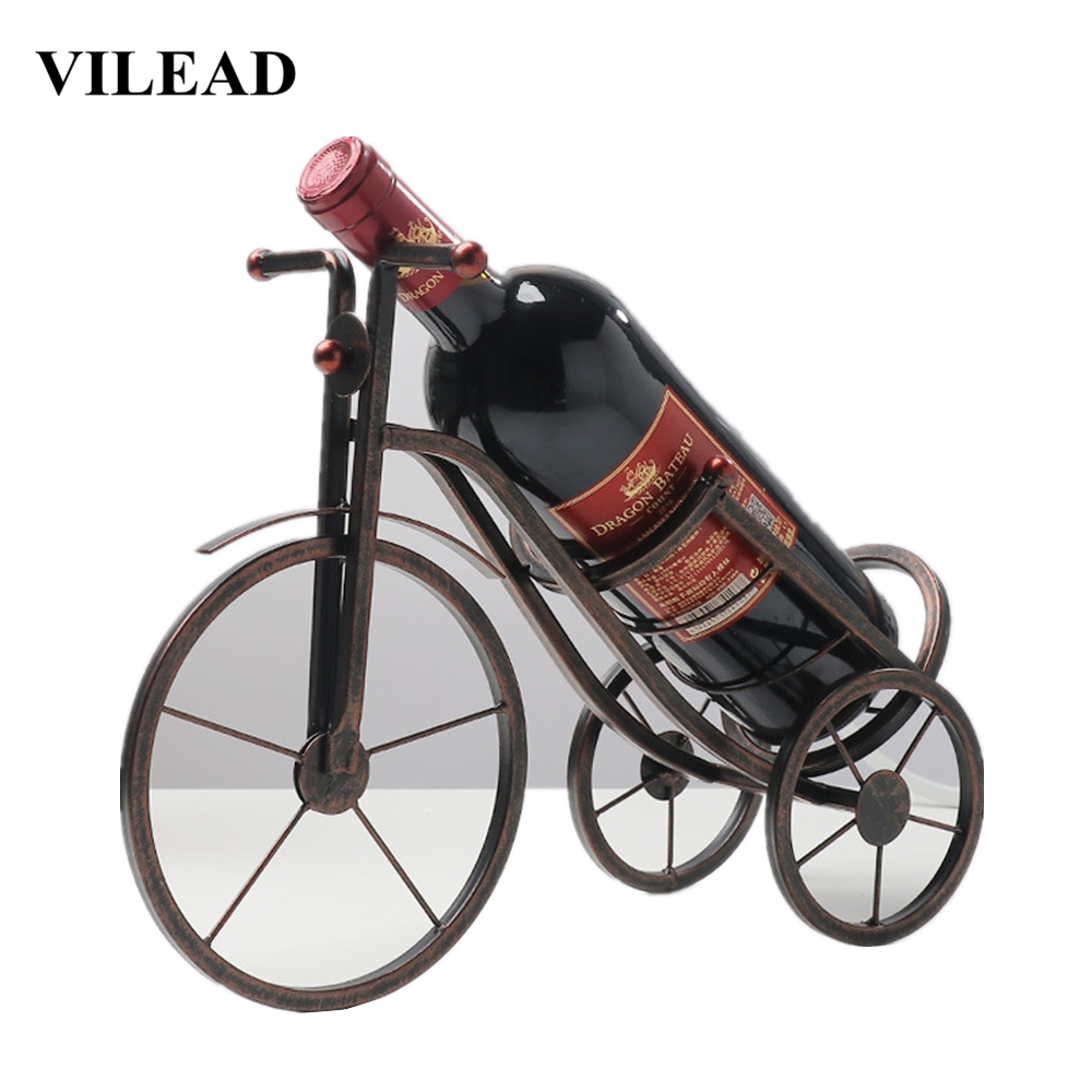 VILEAD 25.5cm Iron Tricycle Wine Holder Creative Metal Wine Rack Home Soft Decoration Ornaments For Home Vintage Simple Crafts