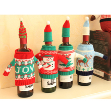 4pcs/set Red Wine Beer Champagen Cover Knitting Wool Christmas Bottle Knitted Sweaters Home Festival Table Decoration