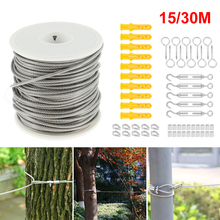 30/15 Meter Steel PVC Coated Flexible Wire Rope Soft Cable Transparent Stainless Steel Clothesline Diameter 2mm Kit Hot New