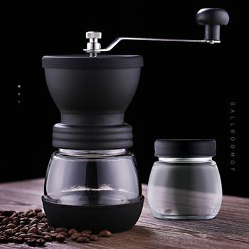 Przenośny ręczny młynek do kawy szlifierka mechaniczna korba ręczna młynek do kawy z słoikiem kruszarka do gospodarstwa domowego młynek do kawy s narzędzia tanie i dobre opinie alloet NONE CN (pochodzenie) Manual Szlifierek zadziorów (stożkowe) STAINLESS STEEL Black stainless steel + ceramic grinding + silicone + glass