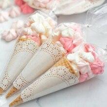 50 pces casamento claro doces cone sacos para crianças presente feliz aniversário festa doces sacos saco de presente chá de fraldas decoração suprimentos