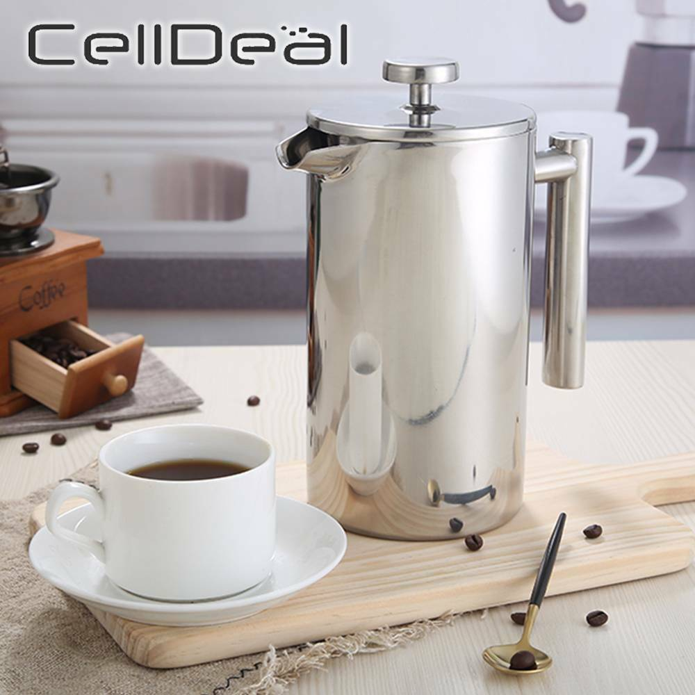 1L Capacity French Press Stainless Steel Coffee Maker Coffee Percolator Pot Double Wall Manual Cafetiere Coffee Containers