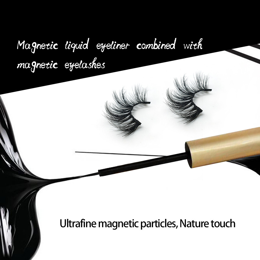 DEEP EYES New Magnetic Liquid Eyeliner And 3d Suede Three Magnetic False Eyelash Set Mink Eyelashes
