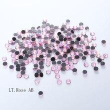 1440pcs LT.Rose AB DMC HotFix FlatBack Rhinestones crystal hot fix stone Iron On garment sewing stones And Nail Art