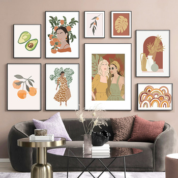 Avocado Orange Fashion Woman Monstera Wall Art Canvas Painting Nordic Poster And Prints Wall Pictures For Living Room Home Decor