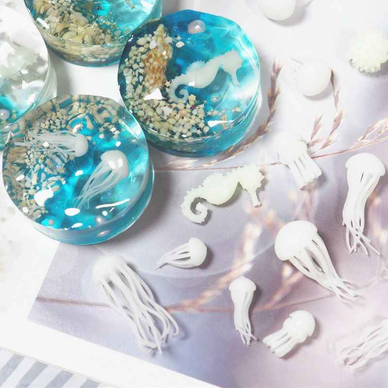 Mini Jellyfish Modeling Epoxy Resin Mold Ocean Theme Fillers DIY Filling Materials