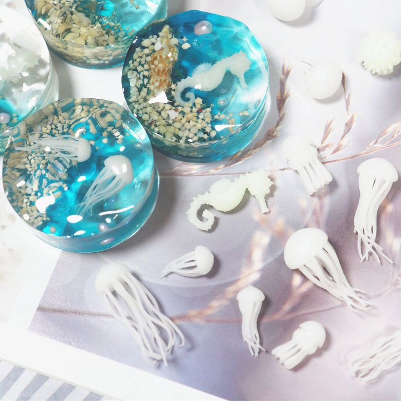 Mini Jellyfish Modeling Epoxy Resin Mold Ocean Theme Fillers DIY Filling Materials(China)