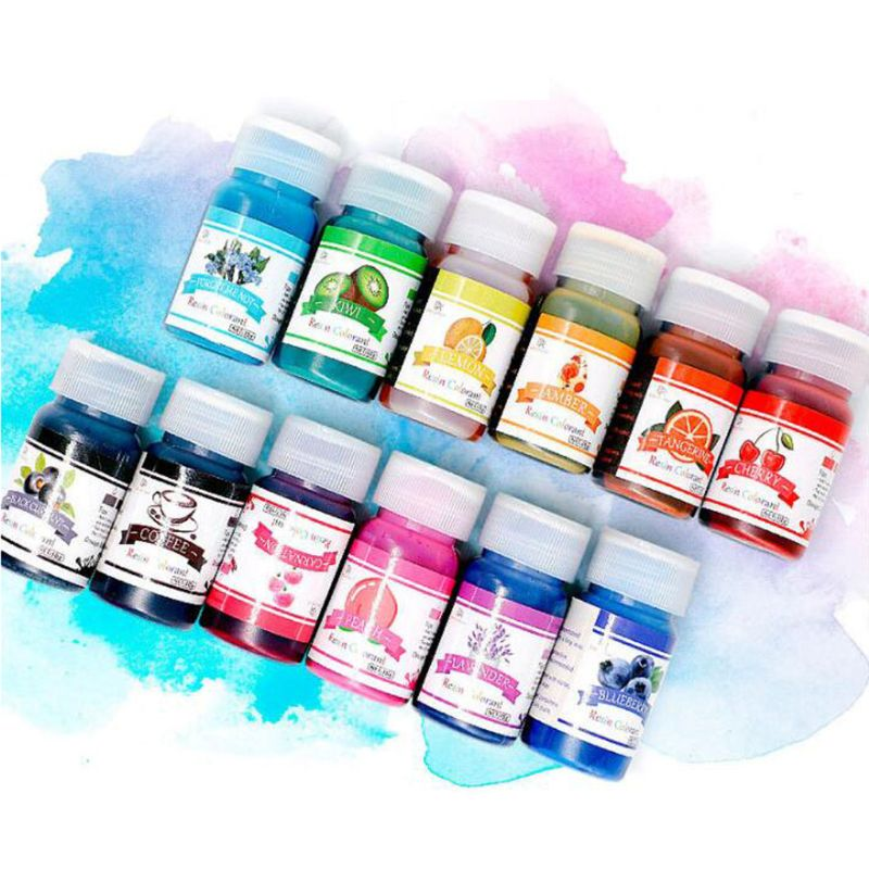 12 Pcs Resin Coloring Dye Liquid Epoxy Resin Pigment Ink Colorant Jewelry Making