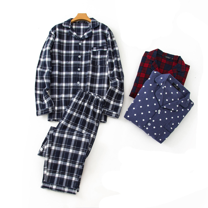 2020 100% Cotton Men's Autumn Winter Long-sleeve Trousers Pajamas Suit Black Plaid Flannel Sleepwear Velvet Soft Clothing Set