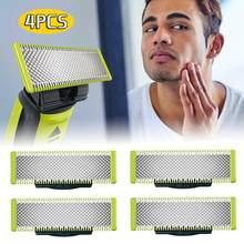 4 pacote barba lâmina de substituição para philips oneblade barbear lâminas substituição cabeças suporte qp2520 qp2523 qp2530