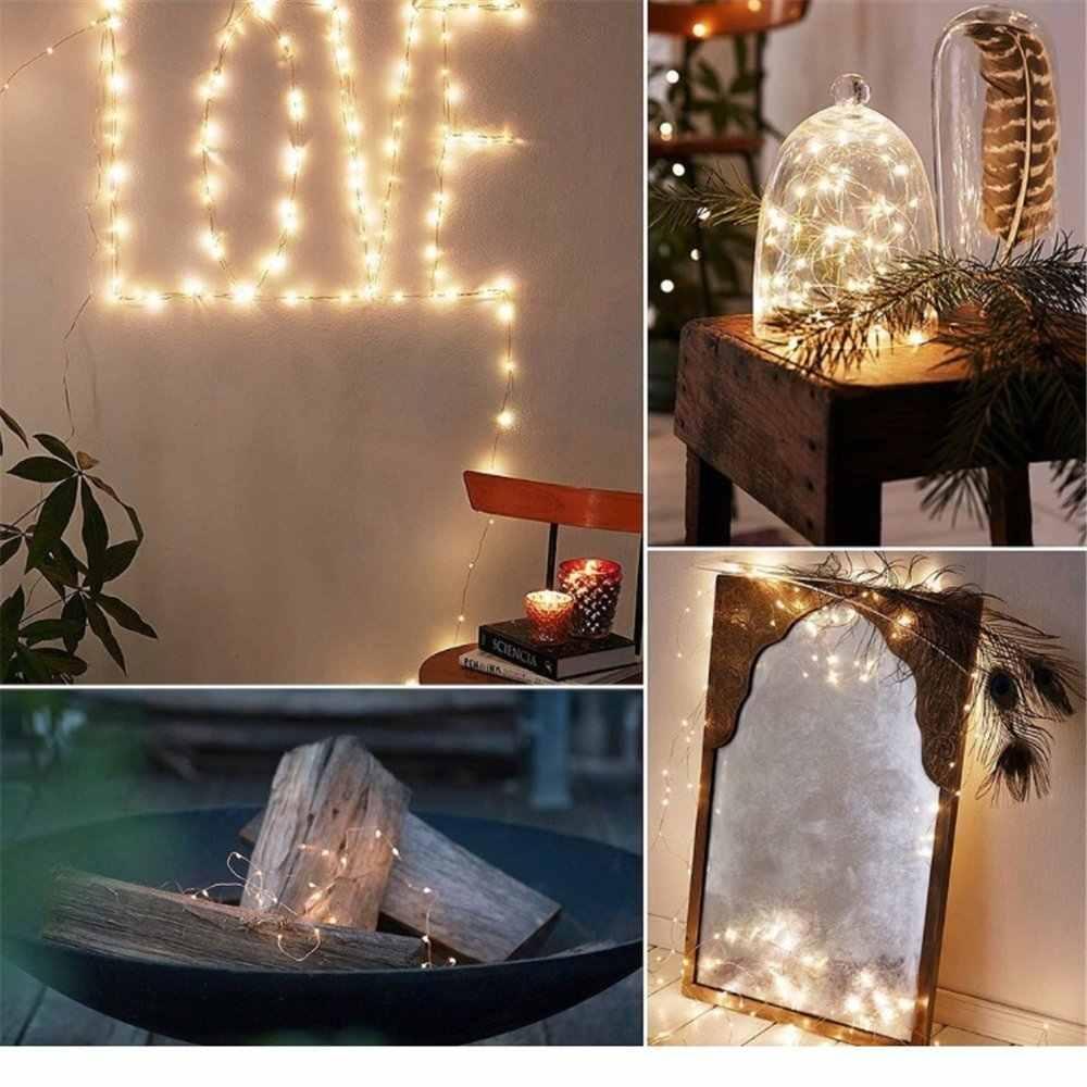 Girlanda żarówkowa LED jasny srebrny/miedziany drut zewnętrzne fantazyjne wesele bożonarodzeniowa dekoracja Led zasilany baterią/USB