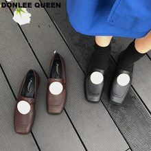 Autumn Flats Shoes Women Loafers Shoes Fashion Metal Buckle Flat Heel Slip On Casual Shoes Ballet Thick Heel Shoes zapatos mujer