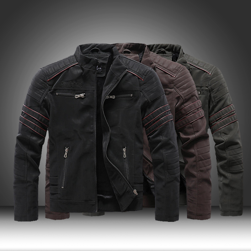 2020 Winter Spring Tops Mens Zipper PU Leather Jacket Faux Coat Fleece Lining Casual Motorcycle Leather Jacket Men Leisure Slim