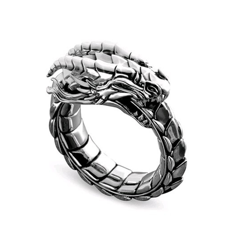 Steampunk-Ring Simulation-Dragon Wedding-Party-Gift Accessosies Silver-Color Vintage title=