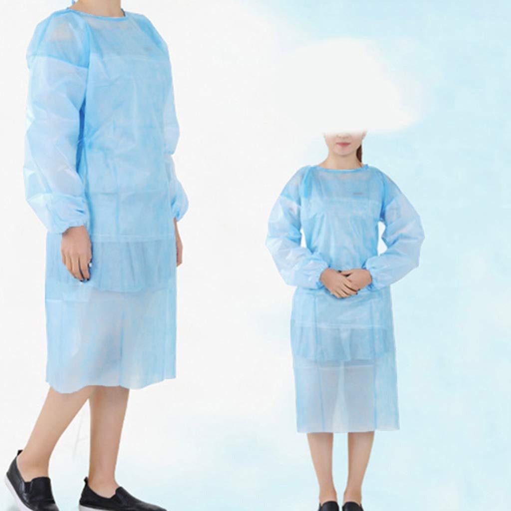 Raincoat 10PCS Blue Disposable Isolation Blouse Adult Long Sleeve Rainproof And Dustproof Disposable Blouse #YL5