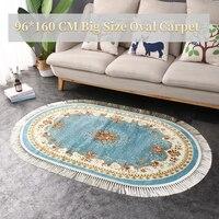 Blue Velvet Living Room Rug Soft Anti slip Euro Retro Tassel Flora Carpet Home Oval Large Rugs For Sofa Mat In The Bedroom