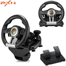 Gaming Steering Wheel Pedal USB Vibration Dual Racing Game Steering Wheel Pedal Pedal For PC/PS3/4/Xbox -One/Switch PXN V3II