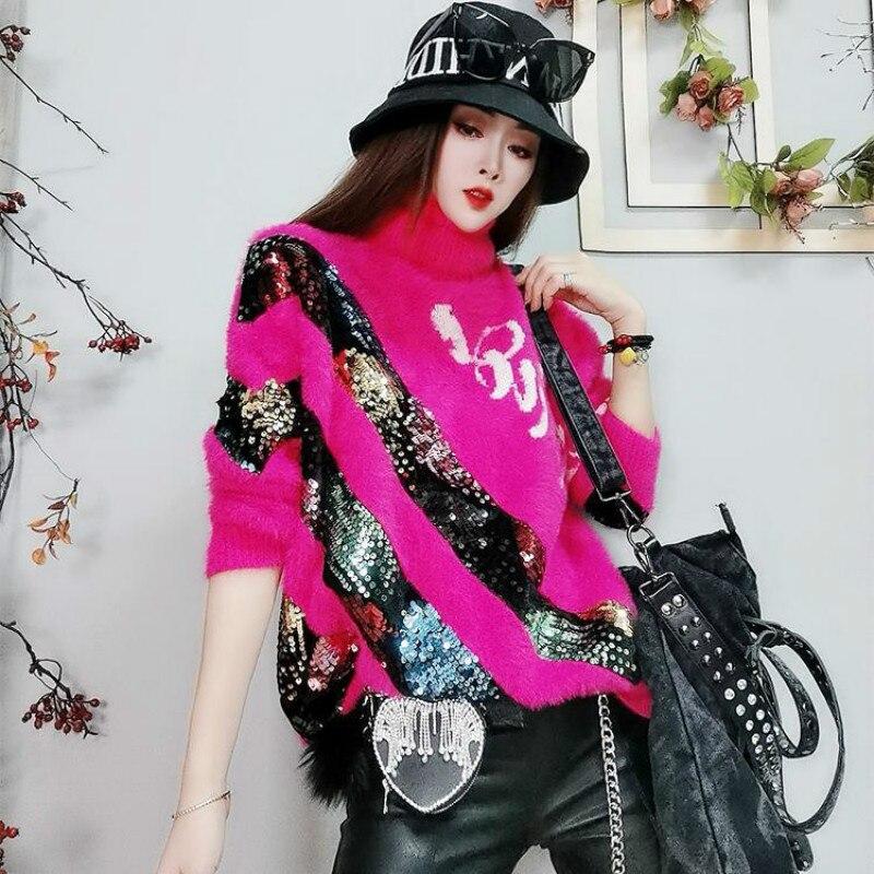 Купить женский свитер с блестками duofan классический блестящий пуловер