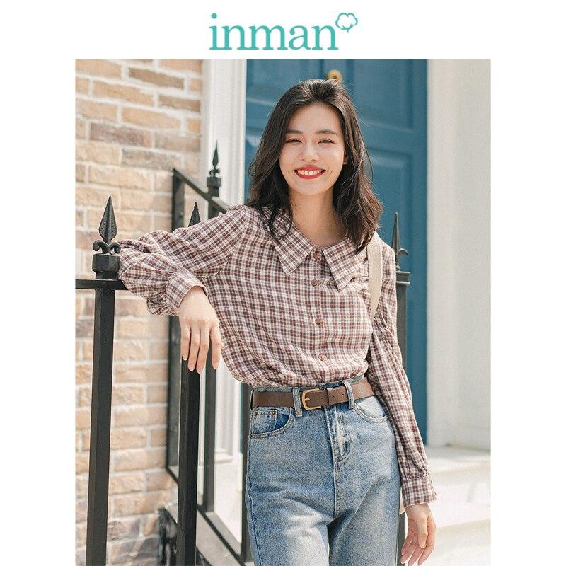 INMAN, зима 2019, Новое поступление, Ретро стиль, 100% хлопок, кукольный воротник, клетчатая Свободная Женская блузка с длинным рукавом